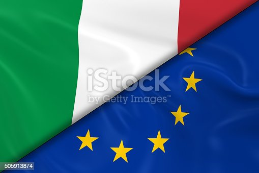 istock Flags of Italy and the European Union Divided Diagonally 505913874