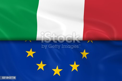 istock Flags of Italy and the European Union Split in Half 531843726