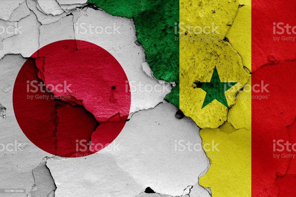 bandeiras do Japão e do Senegal - foto de acervo