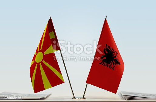 1056280906istockphoto Flags of Macedonia (FYROM) and Albania 1086965456