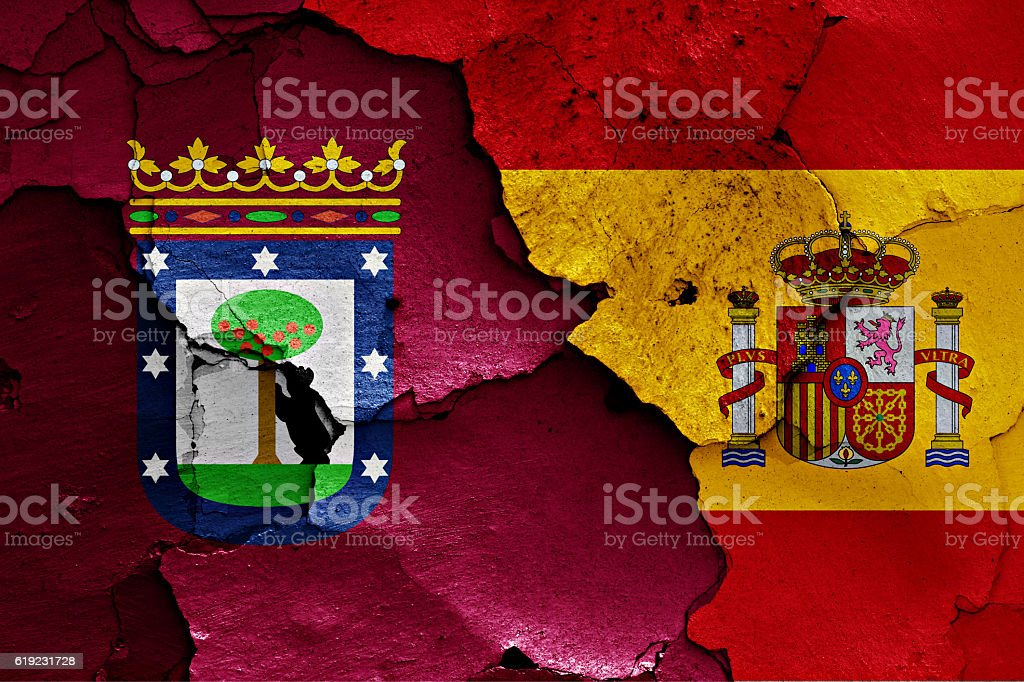 flags of Madrid and Spain painted on cracked wall stock photo