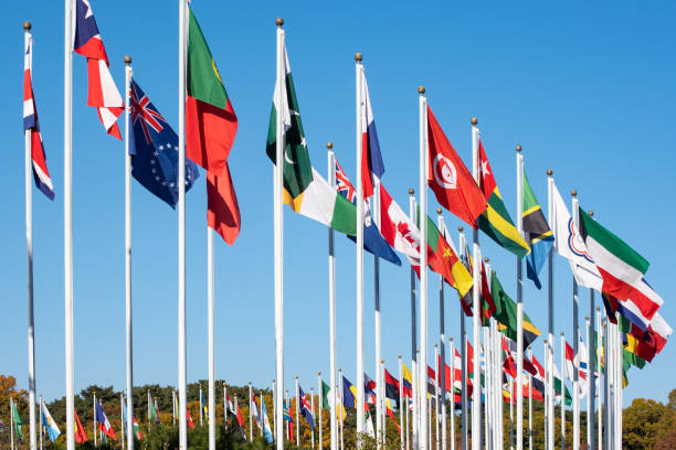 Flags of many states are fluttering on flagpoles. stock photo