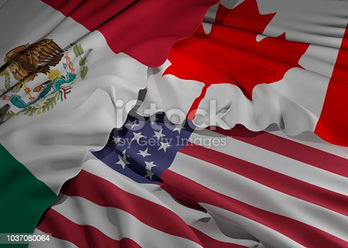 istock flags of Mexico Canada and America 3d-illustration background 1037080064