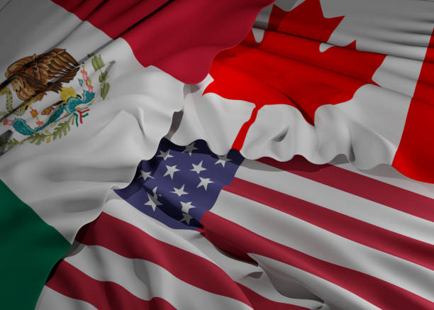 Flaggen von Mexiko Kanada und Amerika 3d-Illustration Hintergrund – Foto