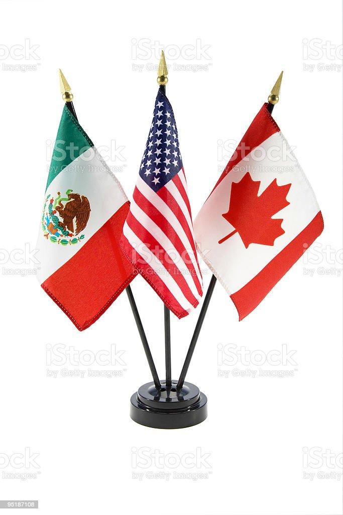 Banderas de México y Estados Unidos y Canadá - foto de stock