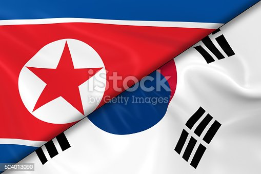 istock Flags of North Korea and South Korea Divided Diagonally 524013090