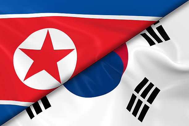 Flags of North Korea and South Korea Divided Diagonally stock photo