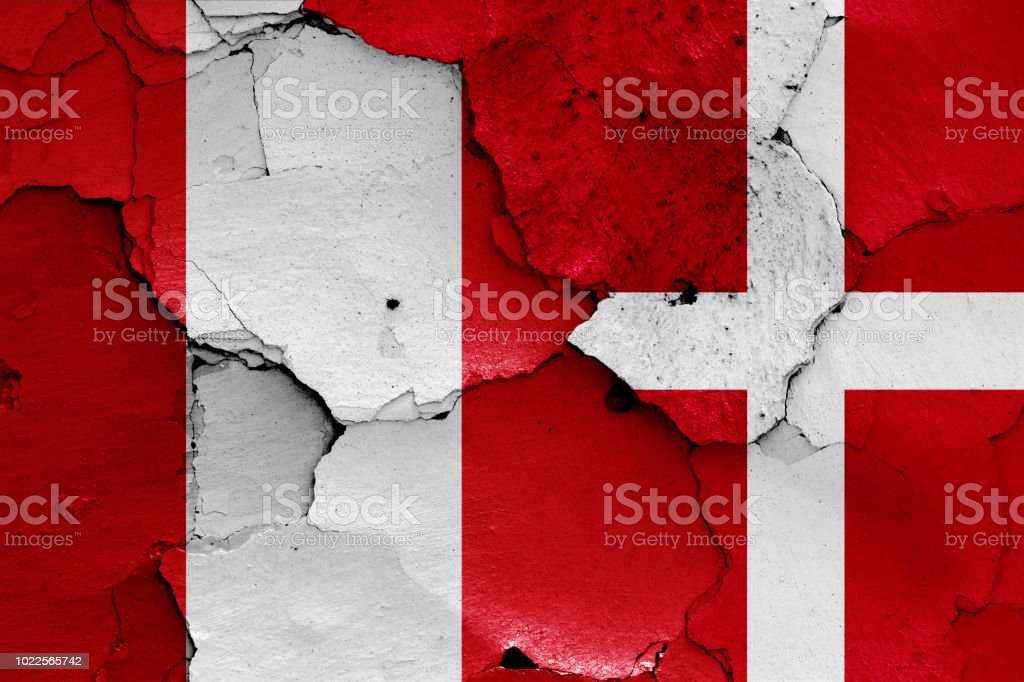 flags of Peru and Denmark stock photo