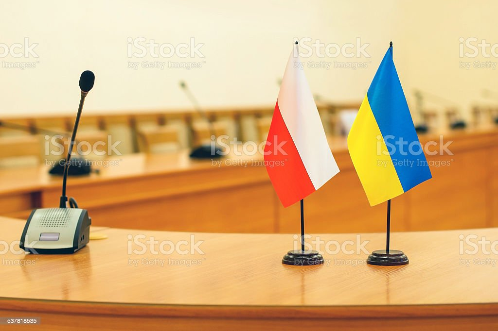 Flags of Poland and Ukraine stock photo