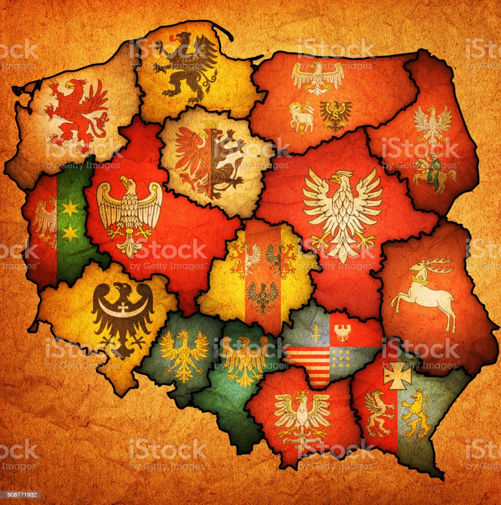 flags of regions on administration map of poland stock photo