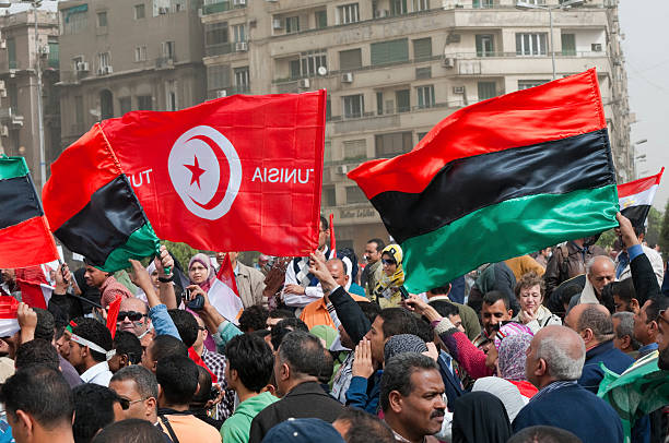 Flags of revolution stock photo
