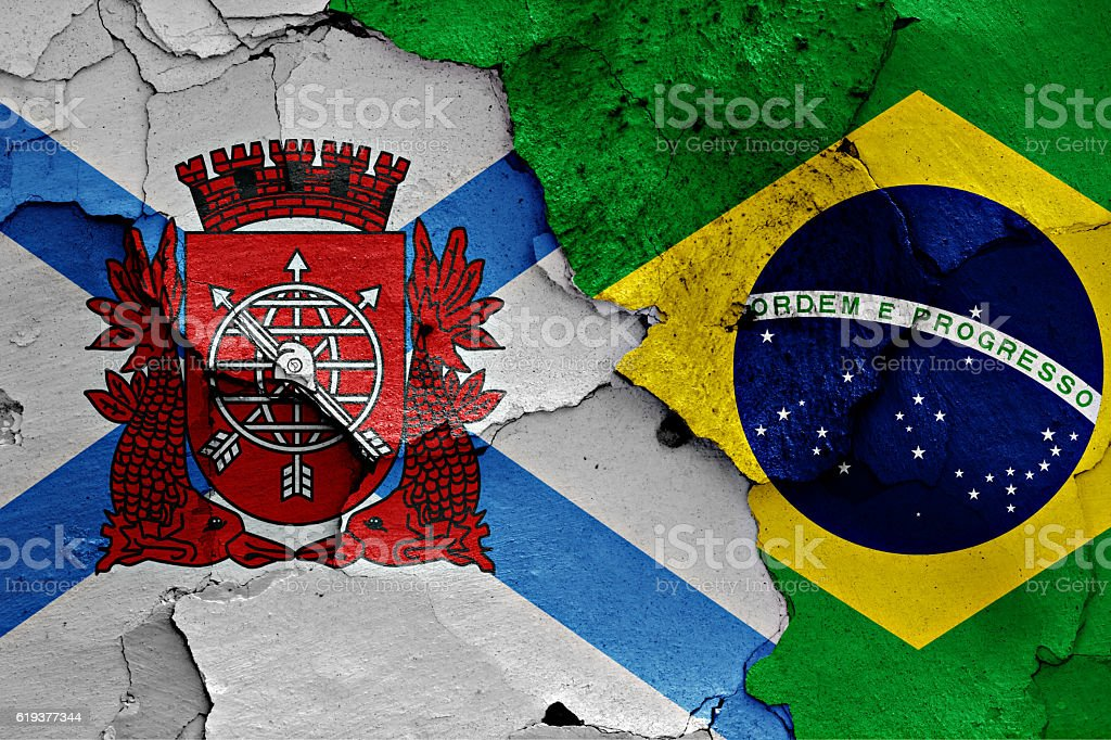 flags of Rio de Janeiro and Brazil stock photo