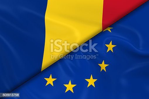 istock Flags of Romania and the European Union Divided Diagonally 505913758
