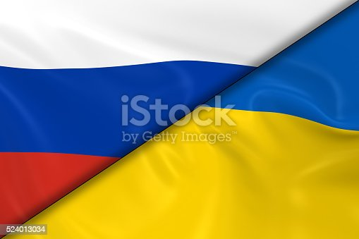istock Flags of Russia and the Ukraine Divided Diagonally 524013034