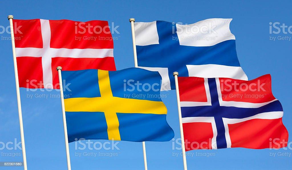 Flags of Scandinavia stock photo