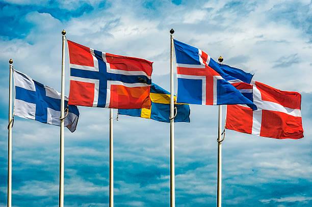 flags of scandinavia - kuzey ülkeleri stok fotoğraflar ve resimler