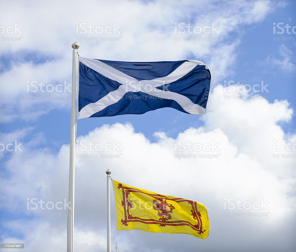 Flags of Scotland stock photo