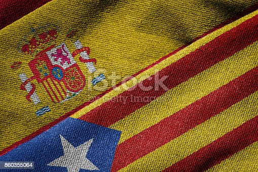 istock Flags of Spain and Catalonia on Grunge Texture 860355064
