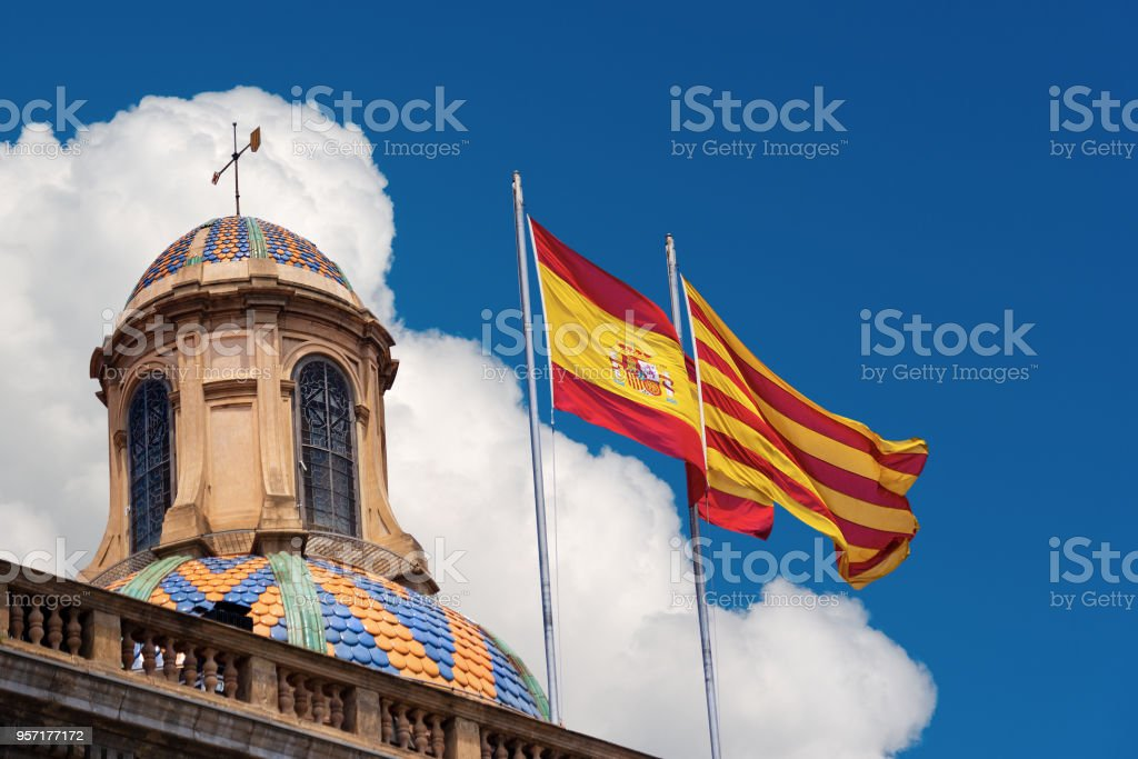 Flags of Spain and Catalonia Together stock photo