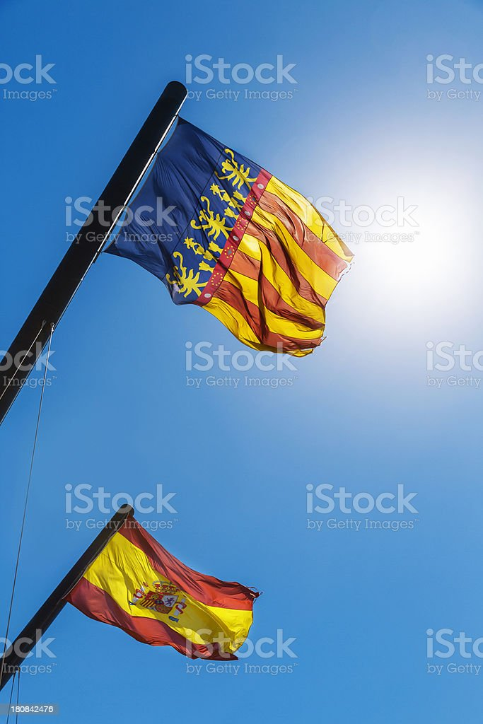 Flags of Spain and Valencian Community royalty-free stock photo