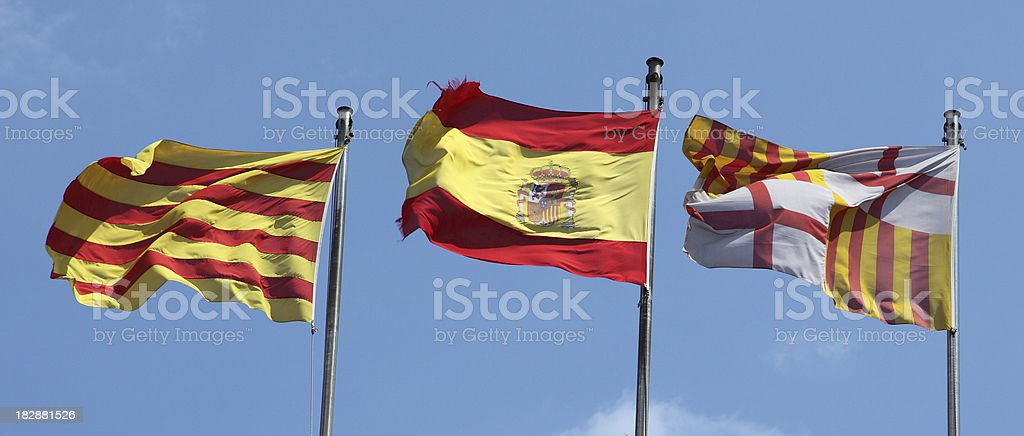 Flags of Spain, Catalonia and Barcelona stock photo