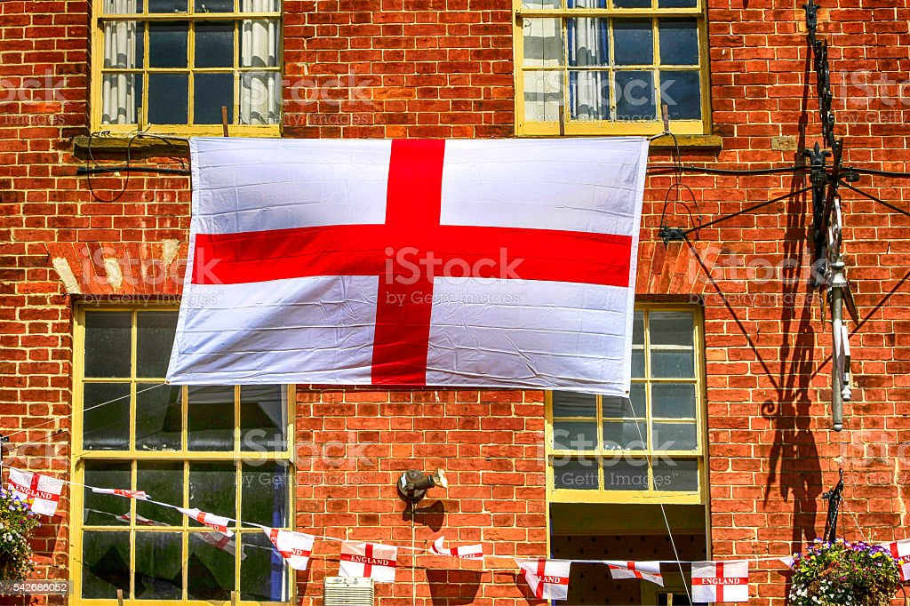 Flags of St. George in England stock photo