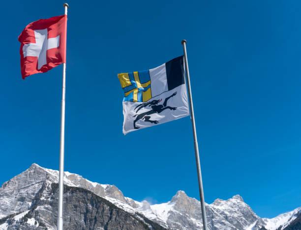 Flaggen der Schweiz und des Kantons Graubünden wehen im Wind in einem blauen Himmel in den Bergen – Foto