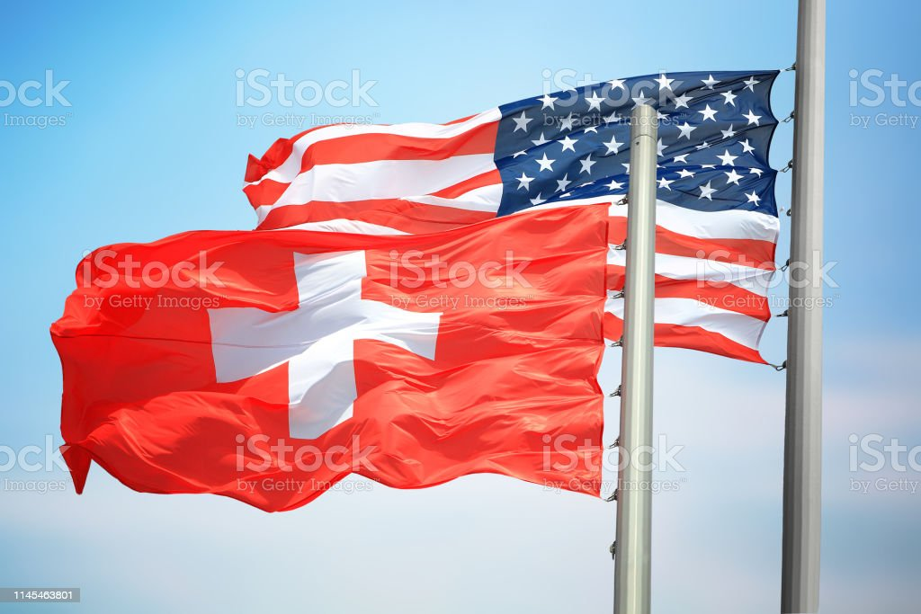 Flags of Switzerland and the USA stock photo