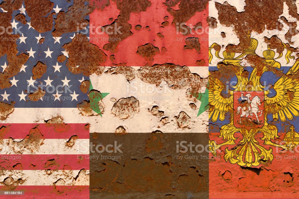 Flags of Syria, USA and Rusia stock photo