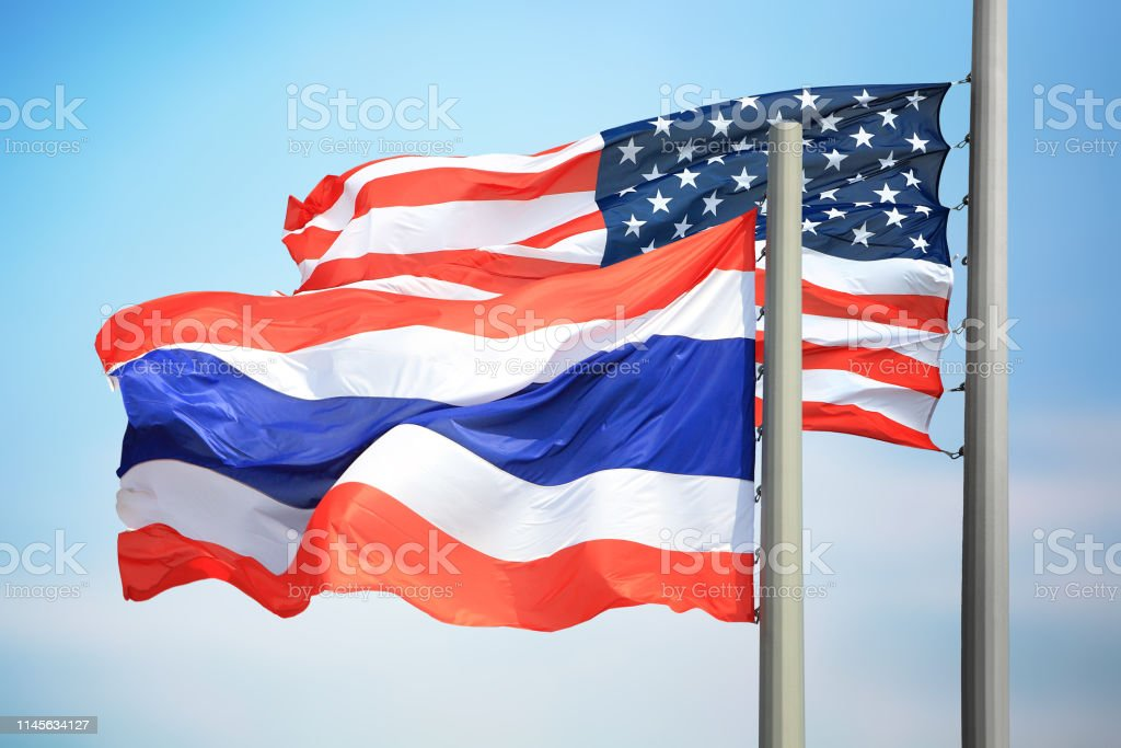 Flags of Thailand and the USA stock photo