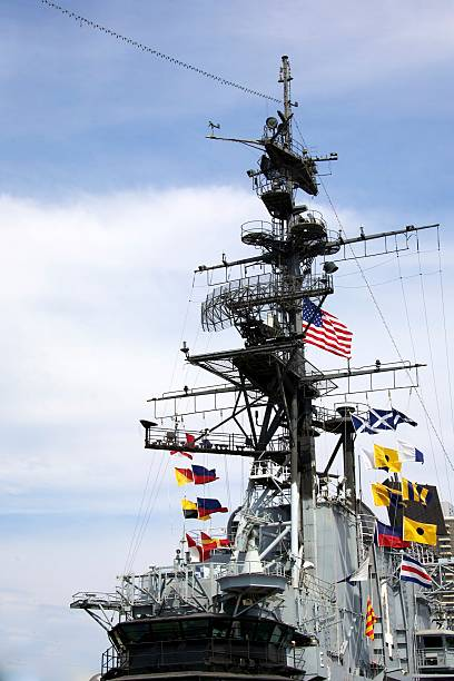 Flags of the aircraft carrier USS Midway stock photo