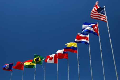 Flags of the G-20 nations. Shallow depth of field and motion blur 3d render.