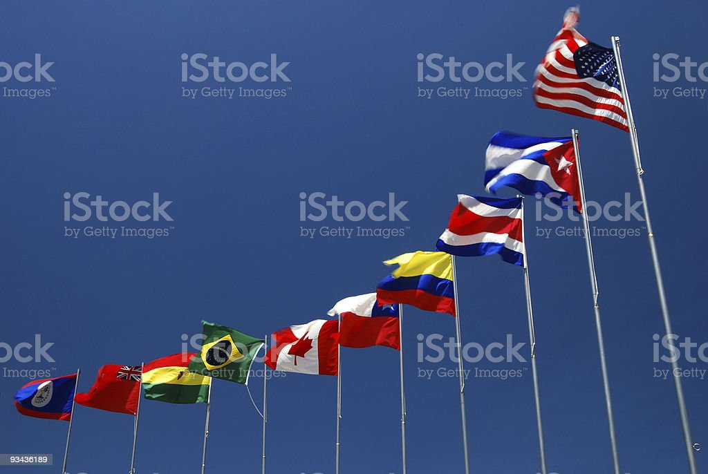 Flags of The Americas stock photo