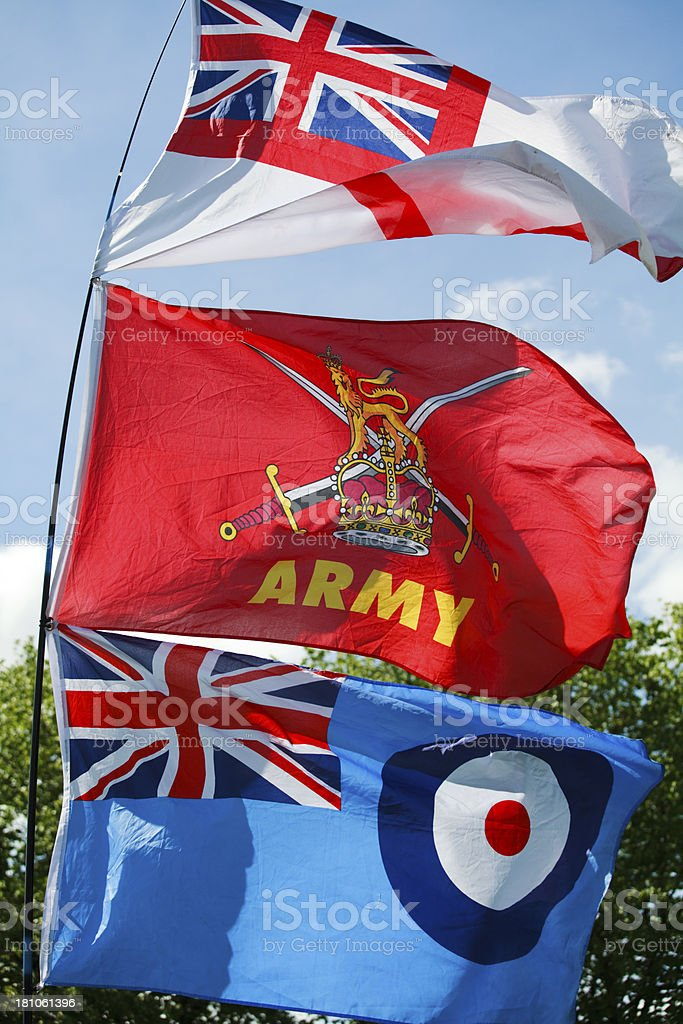 Flags of the British Armed Forces stock photo