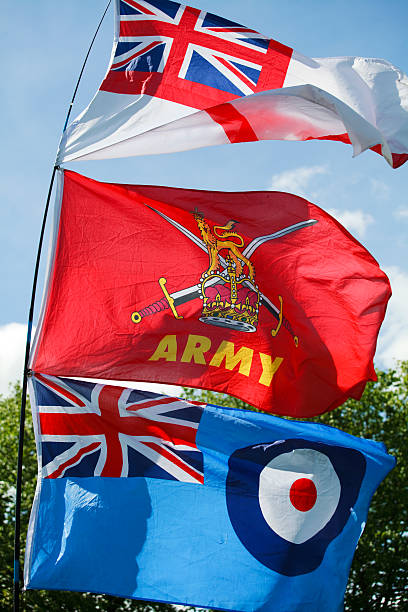 flags of the british armed forces - uk military stock photos and pictures