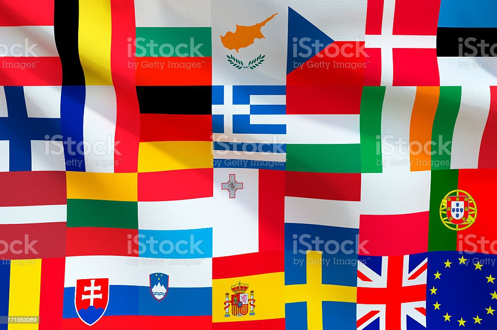 Flags of the European Union forming one large flag stock photo