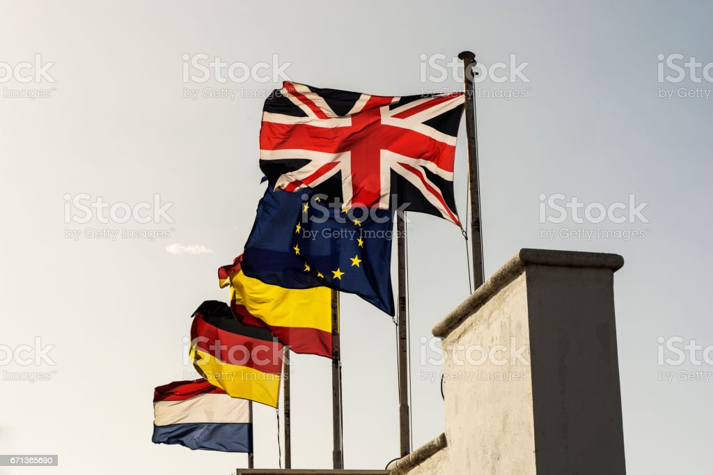 Flags of the European Union stock photo