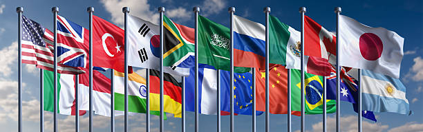 Flags of the G-20 nations Flags of the G-20 nations. Shallow depth of field and motion blur 3d render. national flag stock pictures, royalty-free photos & images