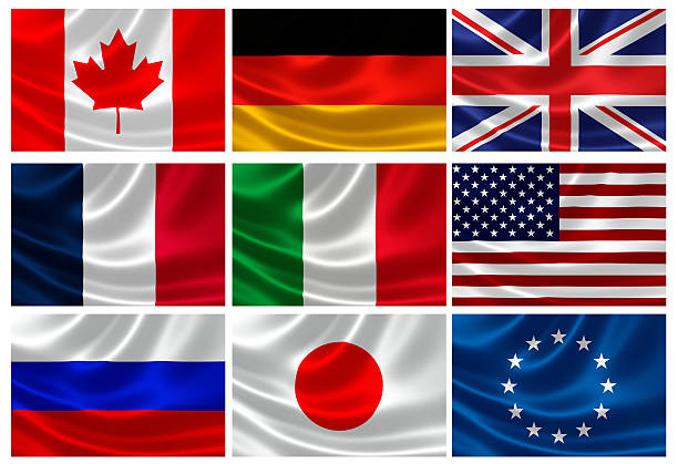 Flags of the G8 Industrialized Countries and EU 3D rendition of Flags of the G8 Industrialized Countries and European Union. EU is represented within the G8 but cannot host or chair summits. Max size of EACH flag measures 3000px x 2000 px large. national flag stock pictures, royalty-free photos & images