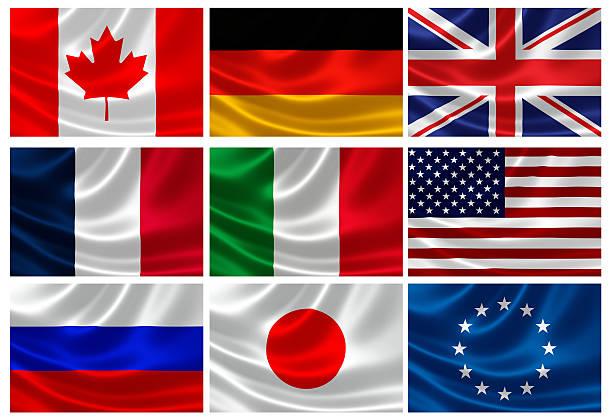 flaggen der g8 industrienationen und eu - deutschland usa stock-fotos und bilder