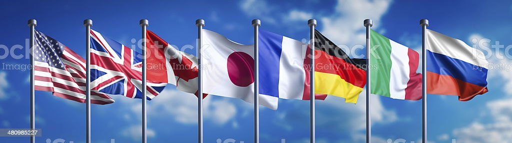 Flags of the G8 nations stock photo
