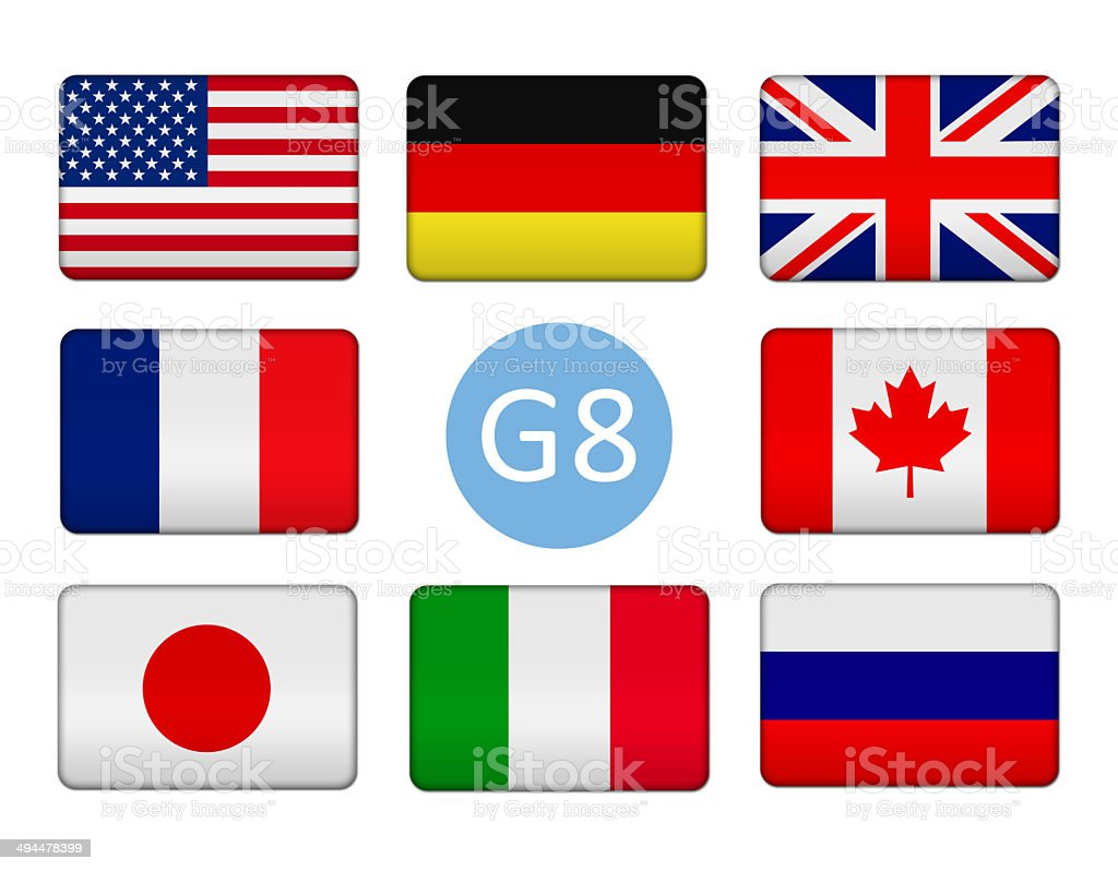 Flags of the Group of Eight stock photo