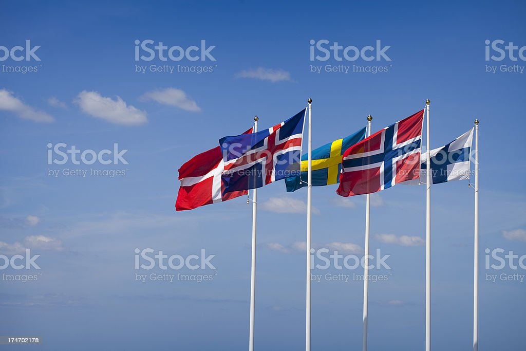 Flags of the Nordic Countries royalty-free stock photo
