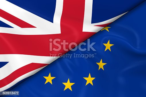 istock Flags of the United Kingdom and the European Union Divided 505913472