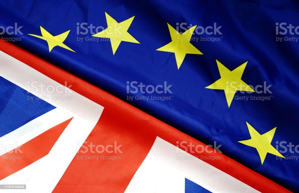 Flags of the United Kingdom and the European Union. UK Flag and EU...