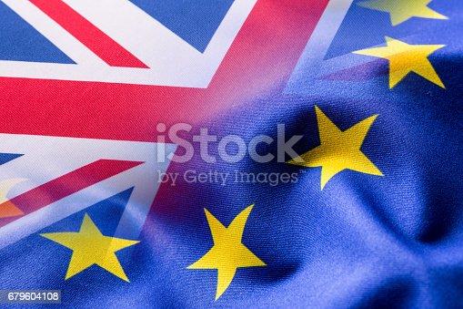 istock Flags of the United Kingdom and the European Union. UK Flag and EU Flag. British Union Jack flag 679604108
