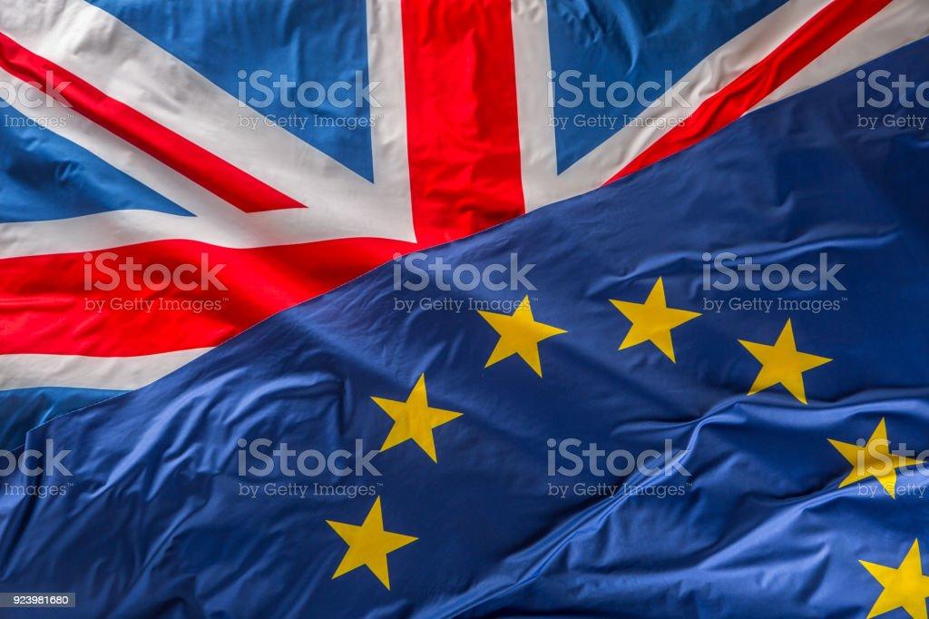 Flaggen der im Vereinigten Königreich und der Europäischen Union. Britische Flagge und EU-Flagge. Britischen Union Jack-Flagge – Foto