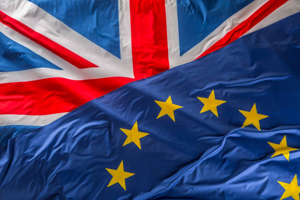 Flags of the United Kingdom and the European Union. UK Flag and EU Flag. British Union Jack flag stock photo