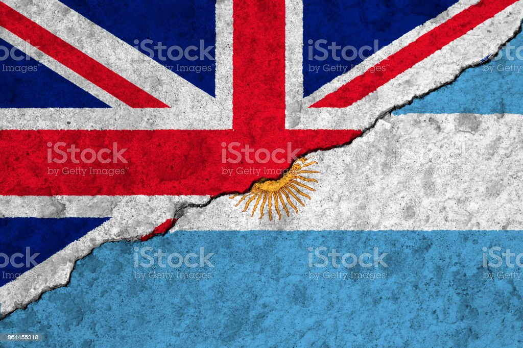 Flags of the United Kingdom & Argentina stock photo