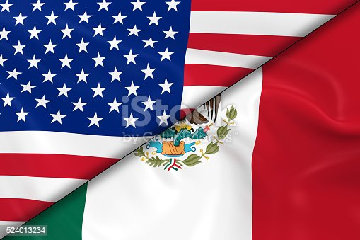 istock Flags of the United States of America and Mexico Divided 524013234